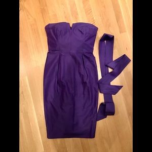 J Crew purple strapless dress NWT